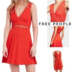 Free people red king of my heart mini dress